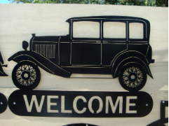 32 Ford 3-Window sedan welcome sign.
